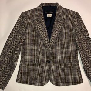 Vintage Plaid Wool Silk Blend Blazer Jacket (8)